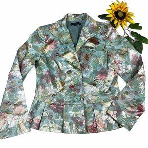 Lafayette 148 Metallic Floral Peplum Blazer Jacket